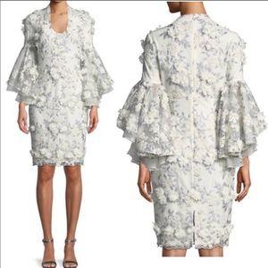 White/cream/silver floral 3D Badgley Mischka Dress